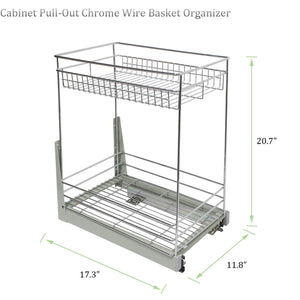 "Best 17.3x11.8x20.7"" Cabinet Pull-Out Chrome Wire Basket Organizer 2-Tier Cabinet Spice Rack Shelves Bowl Pan Pots Holder Full Pullout Set"