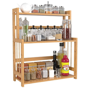 Best HOMECHO Bamboo Spice Rack Bottle Jars Holder Countertop Storage Organizer Free Standing with 3-Tier Adjustable Slim Shelf for Kitchen Bathroom Bedroom HMC-BA-004