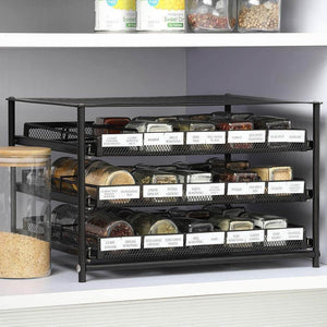 NEX 3 Tier Standing Spice Rack Kitchen Countertop Storage Organizer, Adjustable Shelf Pull Out Spice Rack Slide Out Cabinet for Spice Jars Glass Empty Cabinets, Holds 18,24,30 Jars (Brown, 30 Jars) - Productive Organizing
