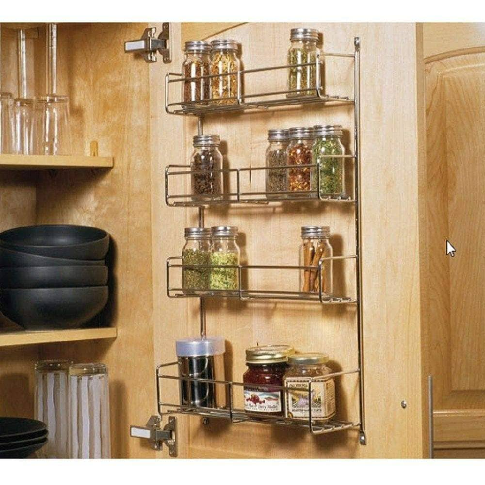 Knape & Vogt SR18-1-FN Door-Mounted Spice Rack Cabinet Organizer, 20-Inch by 13.81-Inch by 3.94-Inch - Productive Organizing
