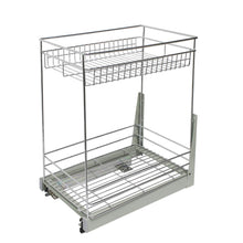 "Load image into Gallery viewer, Best 17.3x11.8x20.7"" Cabinet Pull-Out Chrome Wire Basket Organizer 2-Tier Cabinet Spice Rack Shelves Bowl Pan Pots Holder Full Pullout Set"