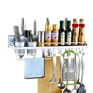 Wall Pot Rack,Wall Hanging Shelf 20 inch Kitchen Cookware Organizer with Pot Hook & Knife Holder & 2 Utensil Cup & Spice Rack & Towel Rack for RV/ Hotel /Restaurant /Bar (Aluminum) By Focipow - Productive Organizing