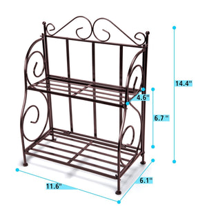 Best Packism Storage Rack, 2 Tier Bathroom Organizer Foldable Spice Rack for Kitchen Countertop Jars Storage Organizer Counter Shelf, Bronze