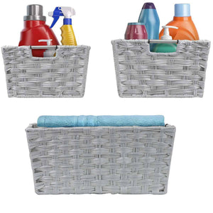 Best Sorbus Woven Basket Bin Set, Storage for Home Décor, Nursery, Desk, Countertop, Closet, Cube Organizer Shelf, Stackable Baskets Includes Built-in Carry Handles (Set of 3 - Light Gray)