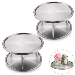 Best STARVAST 2 Pack 2-Tier Stainless Steel Lazy Susan Turntable 10 inch 360-degree Lazy Susan Spice Rack Organizer for Kitchen Cabinet, Countertop, Centerpiece