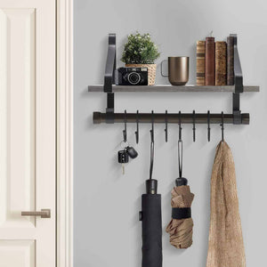 Sorbus Wall Shelf with Hooks, Rustic Wood Rack with Towel Bar and 8 Removable Hooks for Wall-Mounted Storage & Organization in Kitchen, Bathroom, Hallway, etc (Wall Shelf - Grey) - Productive Organizing