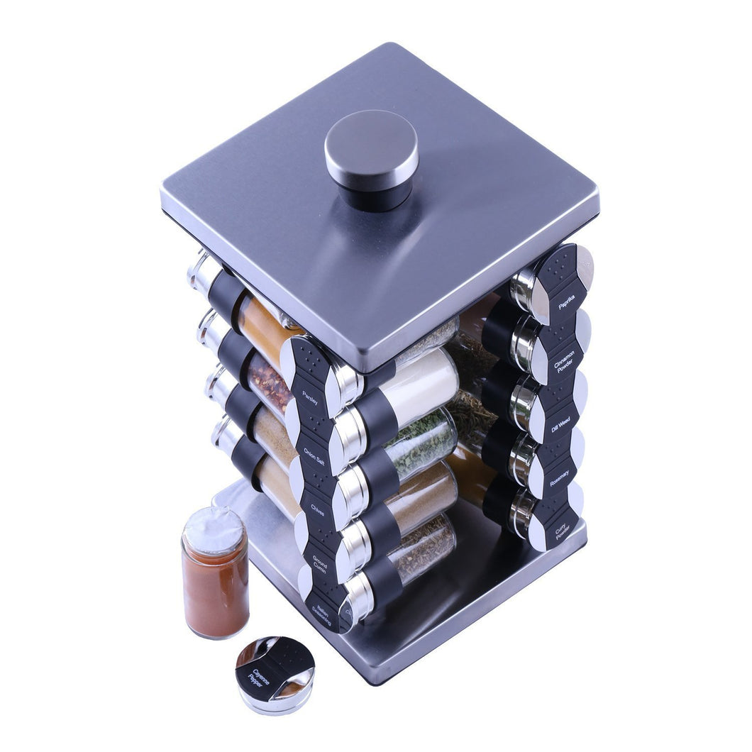 Best Orii GSR3920 Rotunda 20 Jar Spice Rack, silver, black