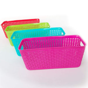 Plastic Baskets Pantry Organization and Storage Kitchen Cabinet Spice Rack Organizer for Food Shelf Small Colorful Rectangle Tray Organizing for Desks Drawers Weave Deep Closets Art Lockers Set of 4 - Productive Organizing