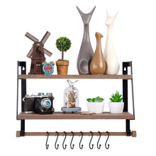 Load image into Gallery viewer, Best Halcent Wall Shelves Wood Storage Shelves with Towel Bar, Floating Shelves Rustic 2 Tier Bathroom Shelf Kitchen Spice Rack with Hooks for Bathroom Kitchen Utensils