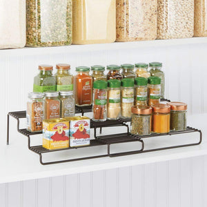 "mDesign Adjustable, Expandable Kitchen Wire Metal Storage Cabinet, Cupboard, Food Pantry, Shelf Organizer Spice Bottle Rack Holder - 3 Level Storage - Up to 19.5"" Wide - Bronze - Productive Organizing"