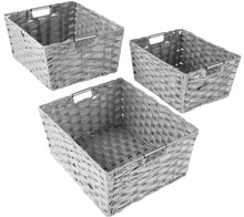 Load image into Gallery viewer, Best Sorbus Woven Basket Bin Set, Storage for Home Décor, Nursery, Desk, Countertop, Closet, Cube Organizer Shelf, Stackable Baskets Includes Built-in Carry Handles (Set of 3 - Light Gray)