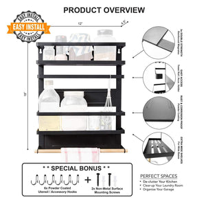 Magnetic Fridge Spice Rack Organizer (Large with 6 Utility Hooks) - 4 Tier Mounted Storage, Paper Towel Roll Holder, Multi Use Kitchen Rack Shelves, Pantry Wall, Laundry Room, Garage. [Matte Black] - Productive Organizing