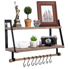 Load image into Gallery viewer, Kakivan 2-Tier Floating Shelves Wall Mount for Kitchen Spice Rack with 8 Hooks Storage, Rustic Farmhouse Wood Wall Shelf for Bathroom Décor with Towel Bar.