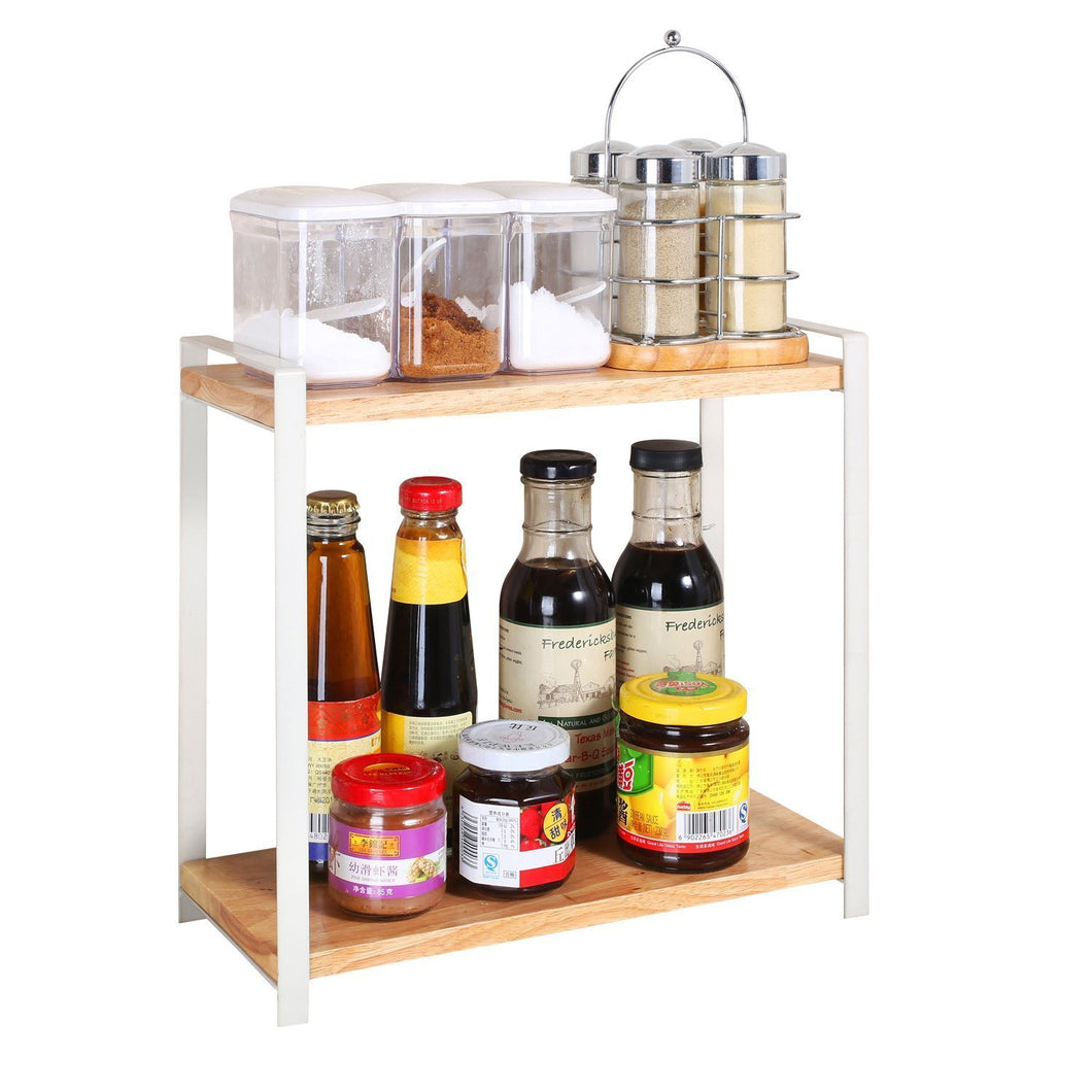 Garwarm 2-Tiers Kitchen Natural Wooden Spice Rack/Standing Rack/Kitchen Bathroom Bedroom Countertop Storage Organizer Spice Jars Bottle Shelf Holder Rack - Productive Organizing