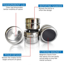 Load image into Gallery viewer, 12 Magnetic Spice Tins, Magnetic Spice Containers Stainless Steel for Refrigerator and Small Kitchens, Spice Container Organizers, Spice Jars Organizer set of 12 - Productive Organizing