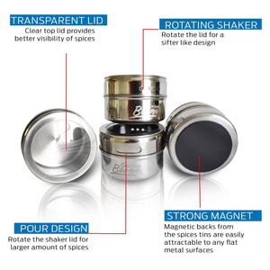 12 Magnetic Spice Tins, Magnetic Spice Containers Stainless Steel for Refrigerator and Small Kitchens, Spice Container Organizers, Spice Jars Organizer set of 12 - Productive Organizing