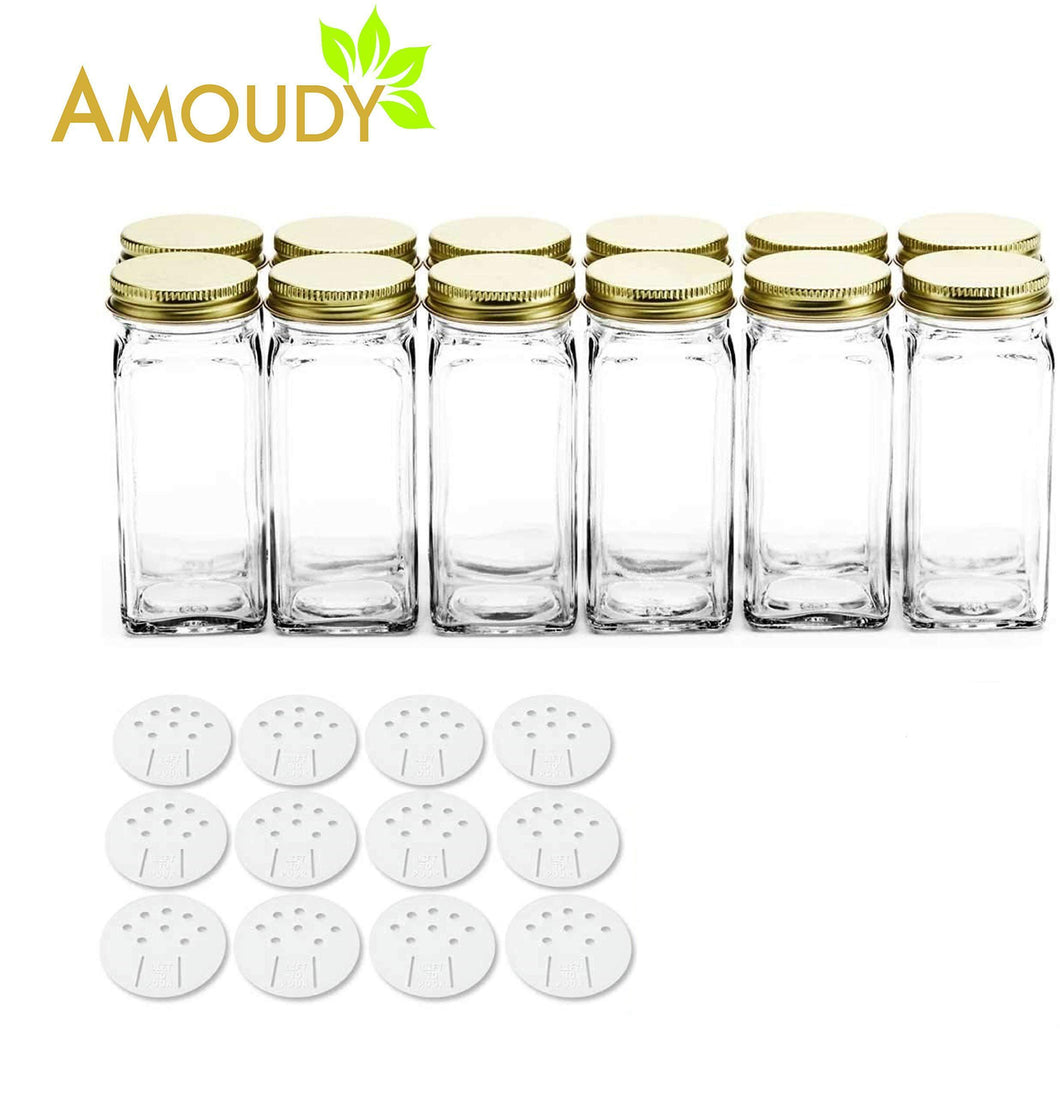 Best 12 Square Clear Glass Bottles Containers Jars 4oz with Gold Metal Lids and Shaker Tops Empty Organizer Set Deluxe Decorative Modern - Spices Seasoning Food Crafts Gifts