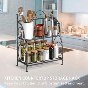 F-color Bathroom Countertop Organizer, 2 Tier Collapsible Kitchen Counter Spice Rack Jars Bottle Shelf Organizer Rack, Black - Productive Organizing