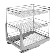 Load image into Gallery viewer, Best 17.6 In. Length Cabinet Pull-Out Chrome Wire Basket Organizer 3-Tier Cabinet Spice Rack Shelves Bowl Pan Pots Holder Full Pullout Set