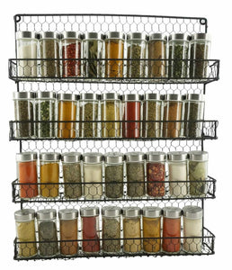 4 Tier Metal Spice Rack Wall Mount Kitchen Spices Organizer Pantry Cabinet Hanging Herbs Seasoning Jars Storage Closet Door Cupboard Mounted Holder Black - Productive Organizing