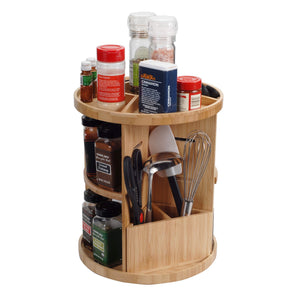 Best Bamboo 360 Rotating Spice Rack & Adjustable Multi Level Kitchen Organizer with Holder for Utensils, Spatulas, Serving Spoons & Other Cooking Tools