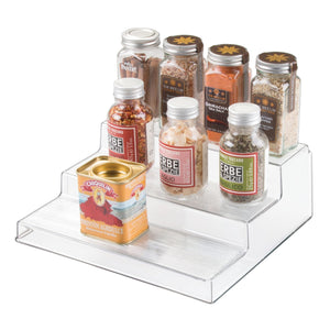 "iDesign Linus Plastic 3-Tier Organizer, Spice Rack for Kitchen Pantry, Cabinets, Countertops, Vanity, Office, Craft Room, 10"" x 8.75"" x 3.50"", Set of 4, Black - Productive Organizing"