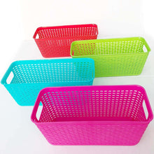 Load image into Gallery viewer, Plastic Baskets Pantry Organization and Storage Kitchen Cabinet Spice Rack Organizer for Food Shelf Small Colorful Rectangle Tray Organizing for Desks Drawers Weave Deep Closets Art Lockers Set of 4 - Productive Organizing