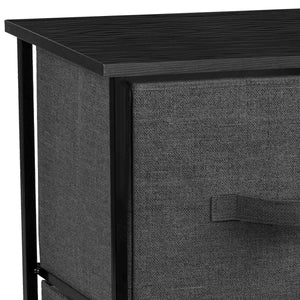 Sorbus 2-Drawer Nightstand with Shelf - Bedside Furniture & Accent End Table Chest for Home, Bedroom Accessories, Office, College Dorm, Steel Frame, Wood Top, Easy Pull Fabric Bins (Black) - Productive Organizing