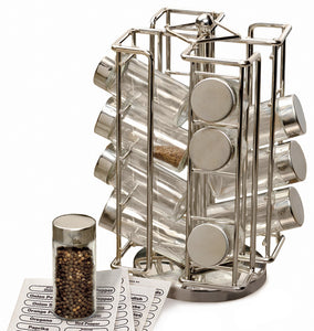 "Best Spice Rack - Revolving Chrome Spice Rack (6 1/2"" x 6 1/2"" x 11 1/2"")"