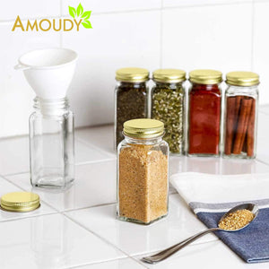 12 Square Clear Glass Bottles Containers Jars 4oz with Gold Metal Lids and Shaker Tops Empty Organizer Set Deluxe Decorative Modern - Spices Seasoning Food Crafts Gifts - Productive Organizing