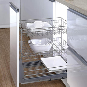 Best 17.6 In. Length Cabinet Pull-Out Chrome Wire Basket Organizer 3-Tier Cabinet Spice Rack Shelves Bowl Pan Pots Holder Full Pullout Set