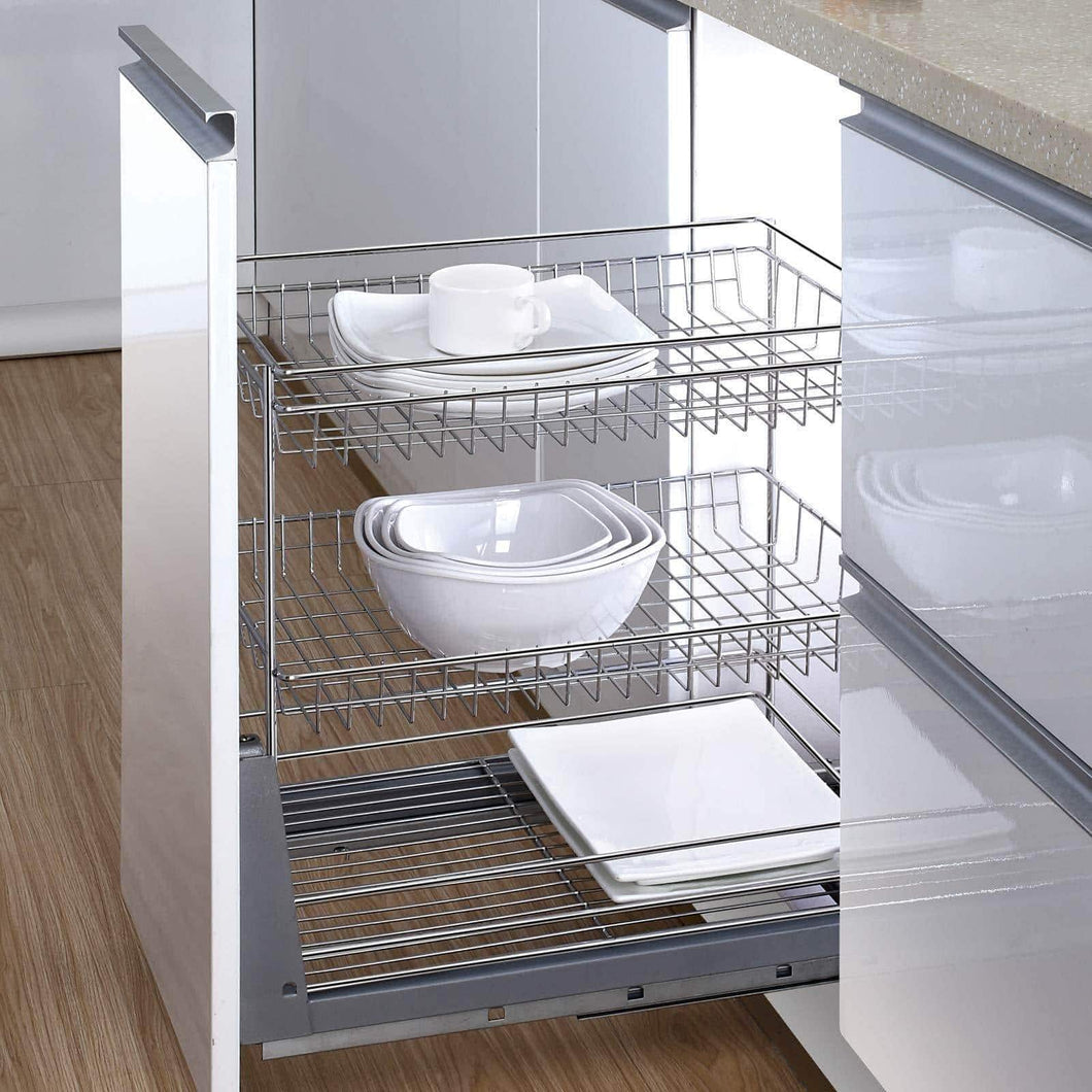 17.6 In. Length Cabinet Pull-Out Chrome Wire Basket Organizer 3-Tier Cabinet Spice Rack Shelves Bowl Pan Pots Holder Full Pullout Set - Productive Organizing