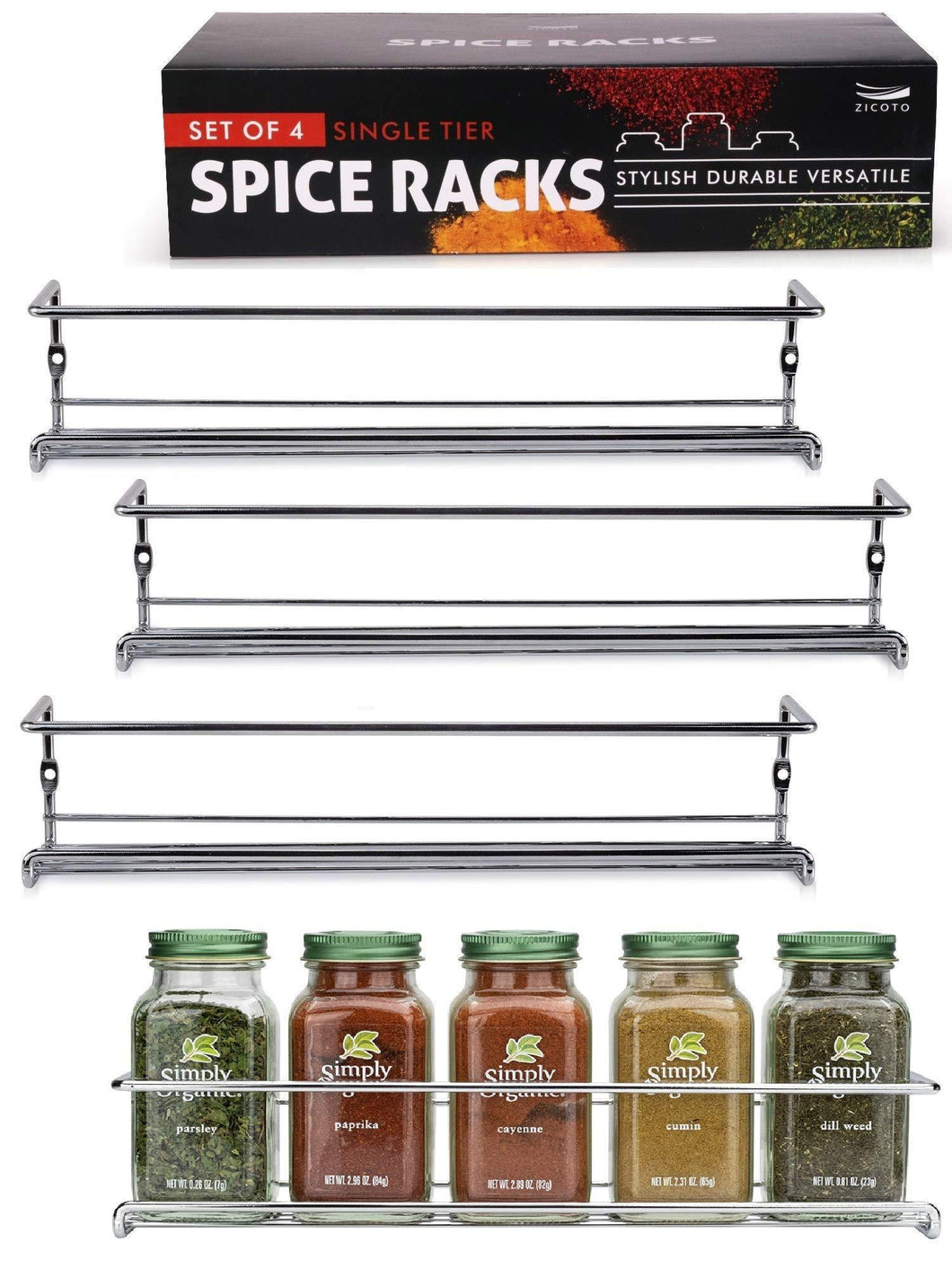 Best Gorgeous Spice Rack Organizer for Cabinets or Wall Mounts - Space Saving Set of 4 Hanging Racks - Perfect Seasoning Organizer For Your Kitchen Cabinet, Cupboard or Pantry Door
