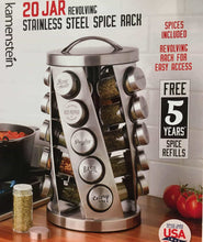 Load image into Gallery viewer, Contemporary Spice Rack Stainless Steel 20 Jars Revolving Rack for Easy Access,Spices Included Plus Free 5 Years of Refills, Filled in USA - Productive Organizing