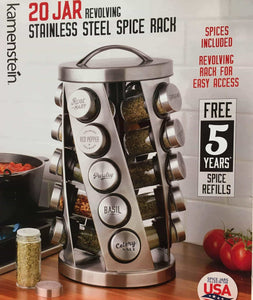 Contemporary Spice Rack Stainless Steel 20 Jars Revolving Rack for Easy Access,Spices Included Plus Free 5 Years of Refills, Filled in USA - Productive Organizing