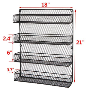 Amazon bbbuy 4 tier spice rack organizer wall mounted country rustic chicken holder large cabinet or wall mounted wire pantry storage rack great for storing spices household stuffs