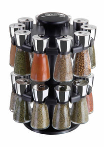 Cole & Mason Herb and Spice Rack with Spices - Revolving Countertop Carousel Set Includes 20 Filled Glass Jar Bottles - Productive Organizing