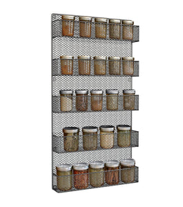 Best Spice Rack Wall Mount- Spice Rack Organizer- Use as a Wall Mounted Spice Rack- Great Storage Capacity for Kitchen Spicy Shelf- The Best Spice Rack -5 Tier Shelves