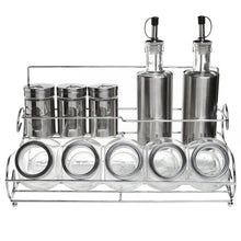 Load image into Gallery viewer, Best Stainless Steel Condiment Set with 2 Oil Cruets, 3 Spice Shakers, 5 Glass Canister Jars, and Chrome Rack