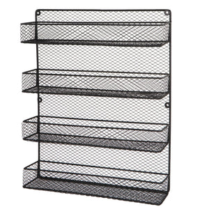 Best BBBuy 4 Tier Spice Rack Organizer wall mounted Country Rustic Chicken Holder Large Cabinet or Wall Mounted Wire Pantry Storage Rack, Great for Storing Spices, Household stuffs