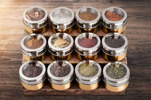 Load image into Gallery viewer, Best Stainless Steel Magnetic Spice Jars - Bonus Measuring Spoon Set - Airtight Kitchen Storage Containers - Stack on Fridge to Save Counter & Cupboard Space - 36pc Organizers in Gold