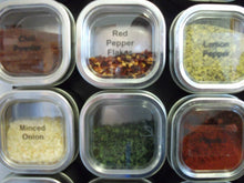 "Load image into Gallery viewer, Petite Culinarian II 12"" x 18"" Magnetic Spice Rack - 24 Spice Tins - Choose Color, Choose Spice Tin size (6 oz, Brushed Stainless Steel) - Productive Organizing"