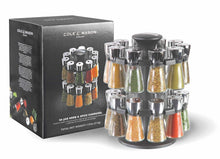 Load image into Gallery viewer, Best Cole & Mason Herb and Spice Rack with Spices - Revolving Countertop Carousel Set Includes 20 Filled Glass Jar Bottles