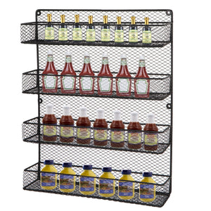 Try bbbuy 4 tier spice rack organizer wall mounted country rustic chicken holder large cabinet or wall mounted wire pantry storage rack great for storing spices household stuffs