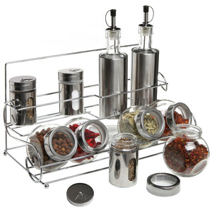 Best Stainless Steel Condiment Set with 2 Oil Cruets, 3 Spice Shakers, 5 Glass Canister Jars, and Chrome Rack