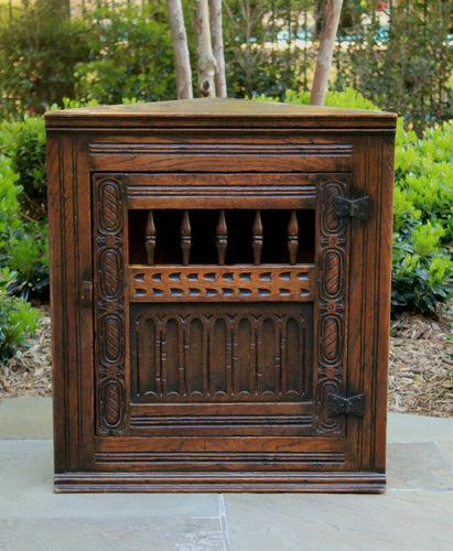 Best Antique English Oak CORNER Cabinet Hanging Medicine Spice Storage Wall Cabinet