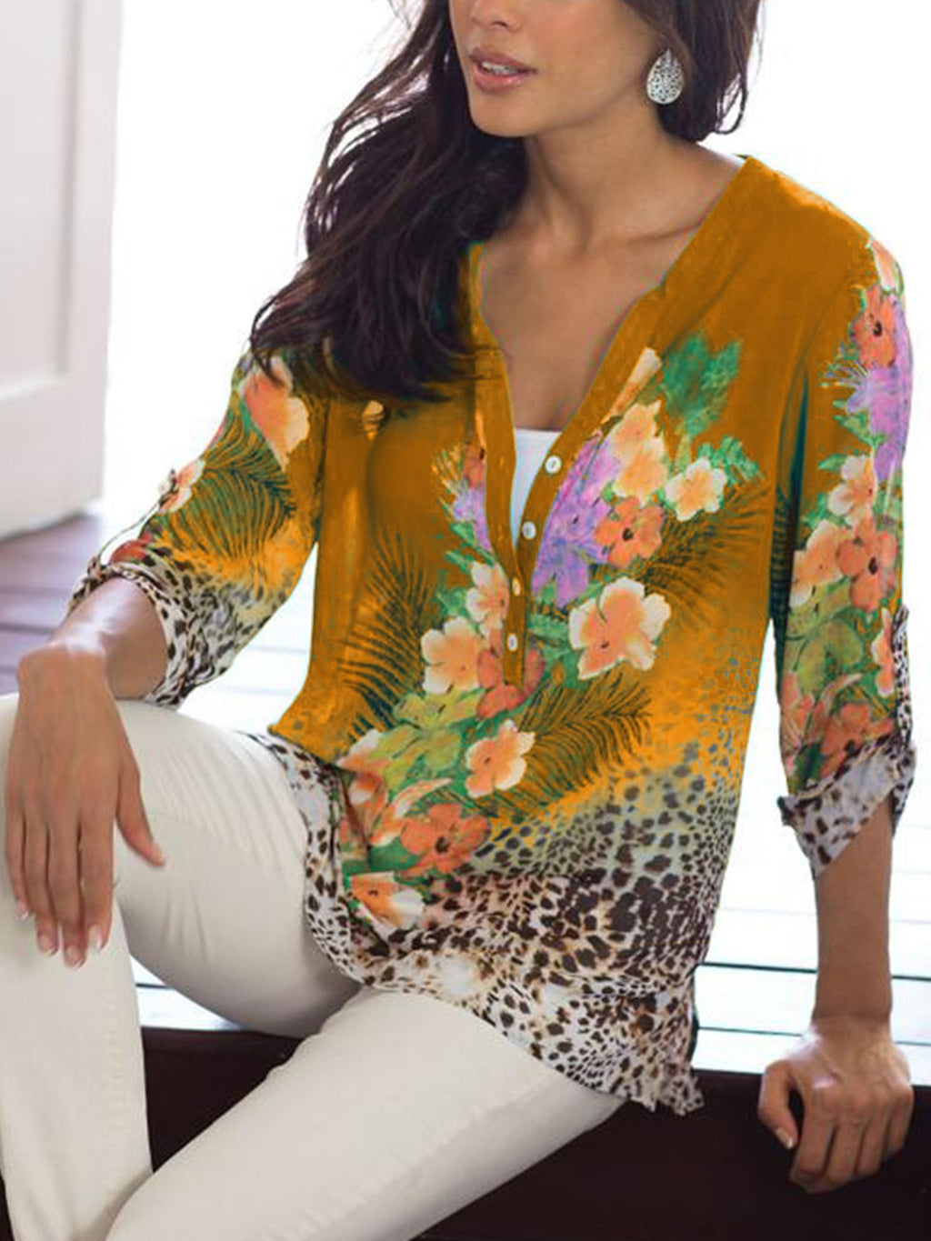Women V-neck Half Sleeved Floral Loose Blouses