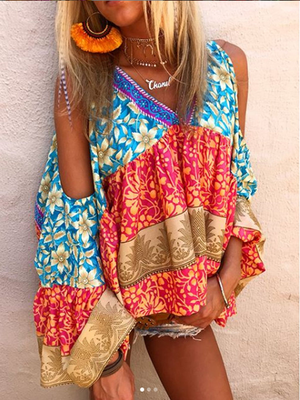 Multicolor Printed Bell Sleeve Casual Blouse