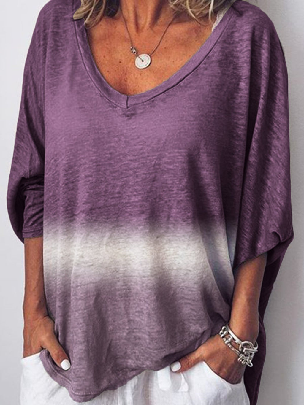 Gradient Half Sleeve V Neck Shirts