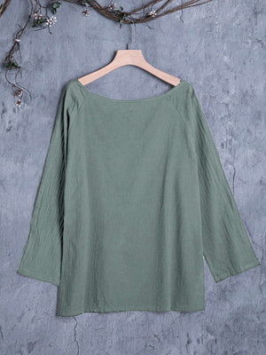 Women Solid Loose Casual Tops